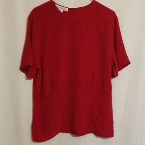 Vintage | Dark Red Silk Blouse